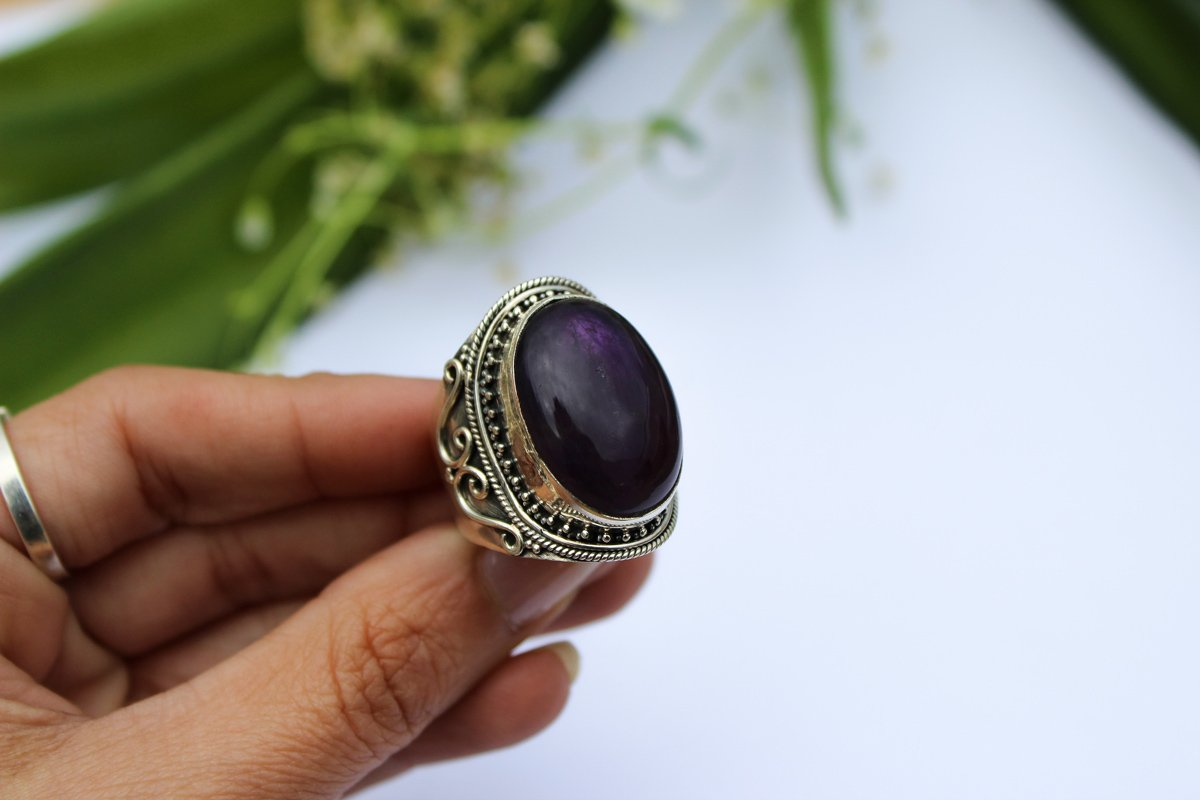 Amethyst Ring, Sterling Silver Amethyst Gemstone Gypsy Ring, AR-1003