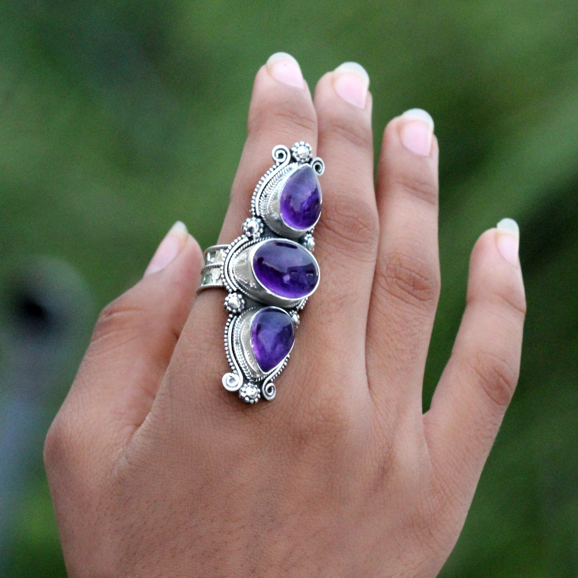 Three Stone Statement Amethyst Ring