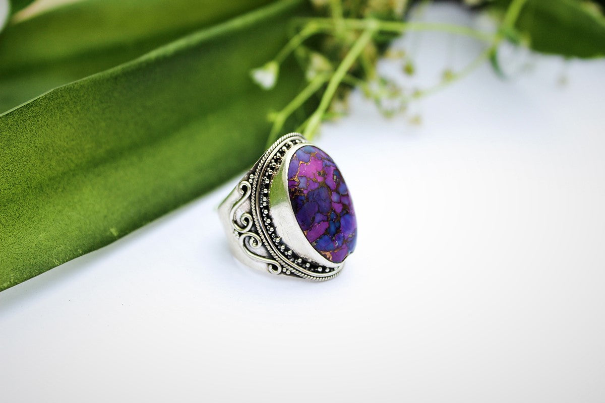 Turquoise Ring, Purple Copper Turquoise Sterling Silver Ring, Mohave Turquoise Ring, Handmade Ring, Turquoise Jewelry, Boho Ring, Bohemian Ring AR-1153