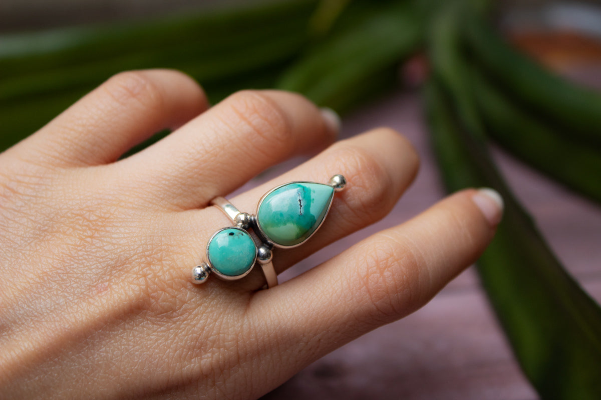 Turquoise Ring, Turquoise Sterling Silver Ring, Boho, Handmade Ring, Turquoise Jewelry, December Birthstone Ring AR-1157