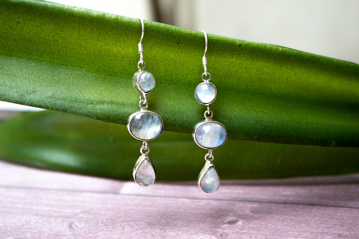 Moonstone Earrings, Three Stone Moonstone Gemstone Sterling Silver Earrings, Dangle Earrings, June Birthstone, Healing crystals, Moonstone Jewelry, Bridesmaid Earrings, Handmade earrings