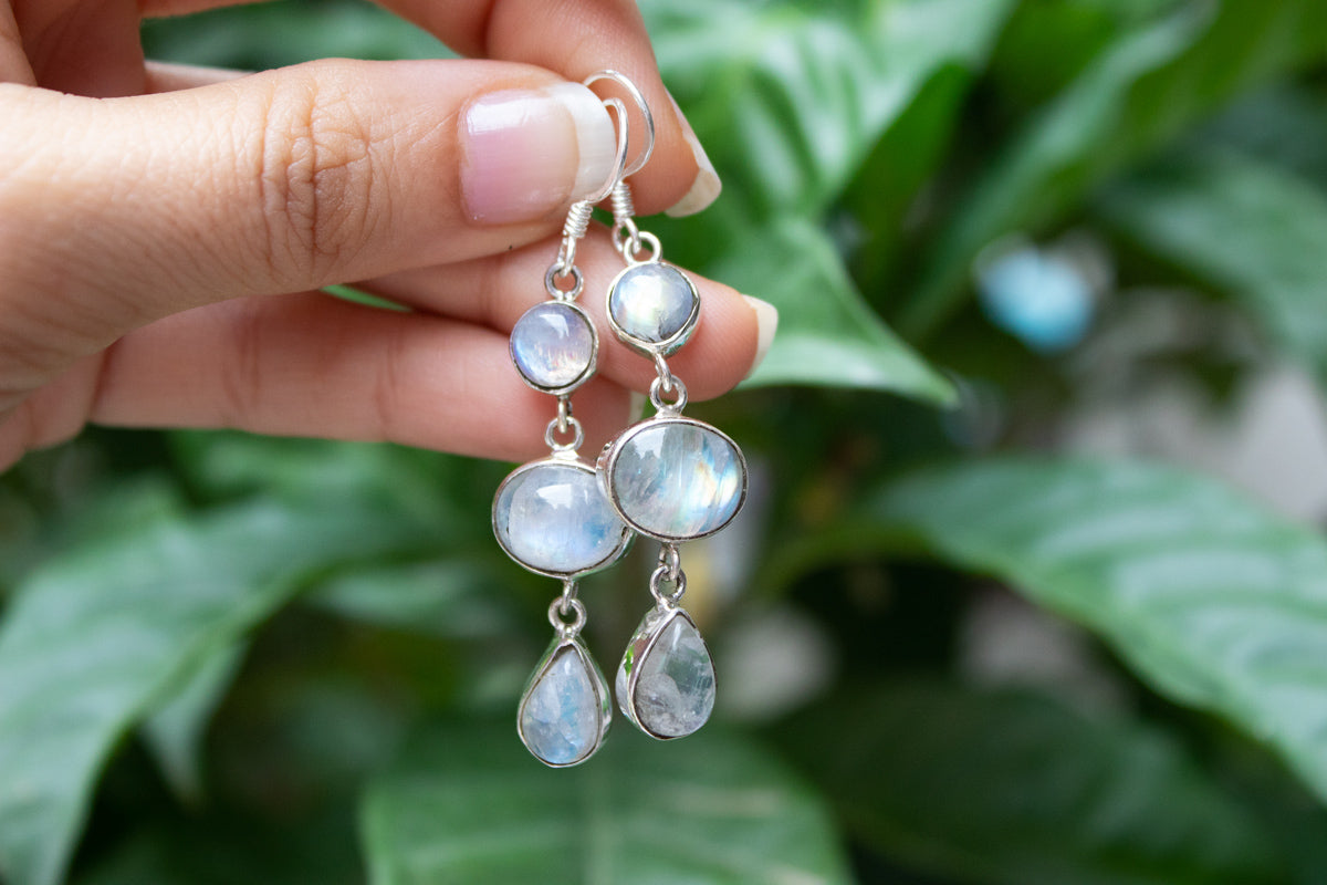 Three Stone Moonstone Gemstone Sterling Silver Earrings, AE-1044