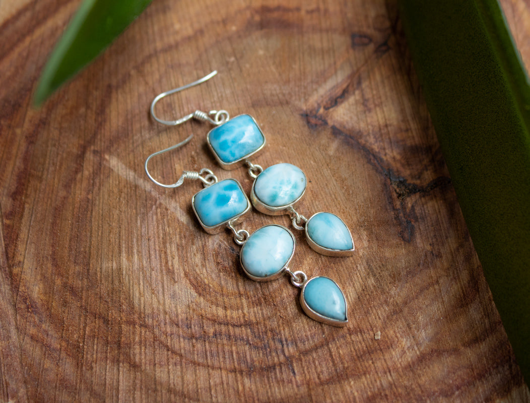 Three Stone Larimar Dangle Earrings AE-1047
