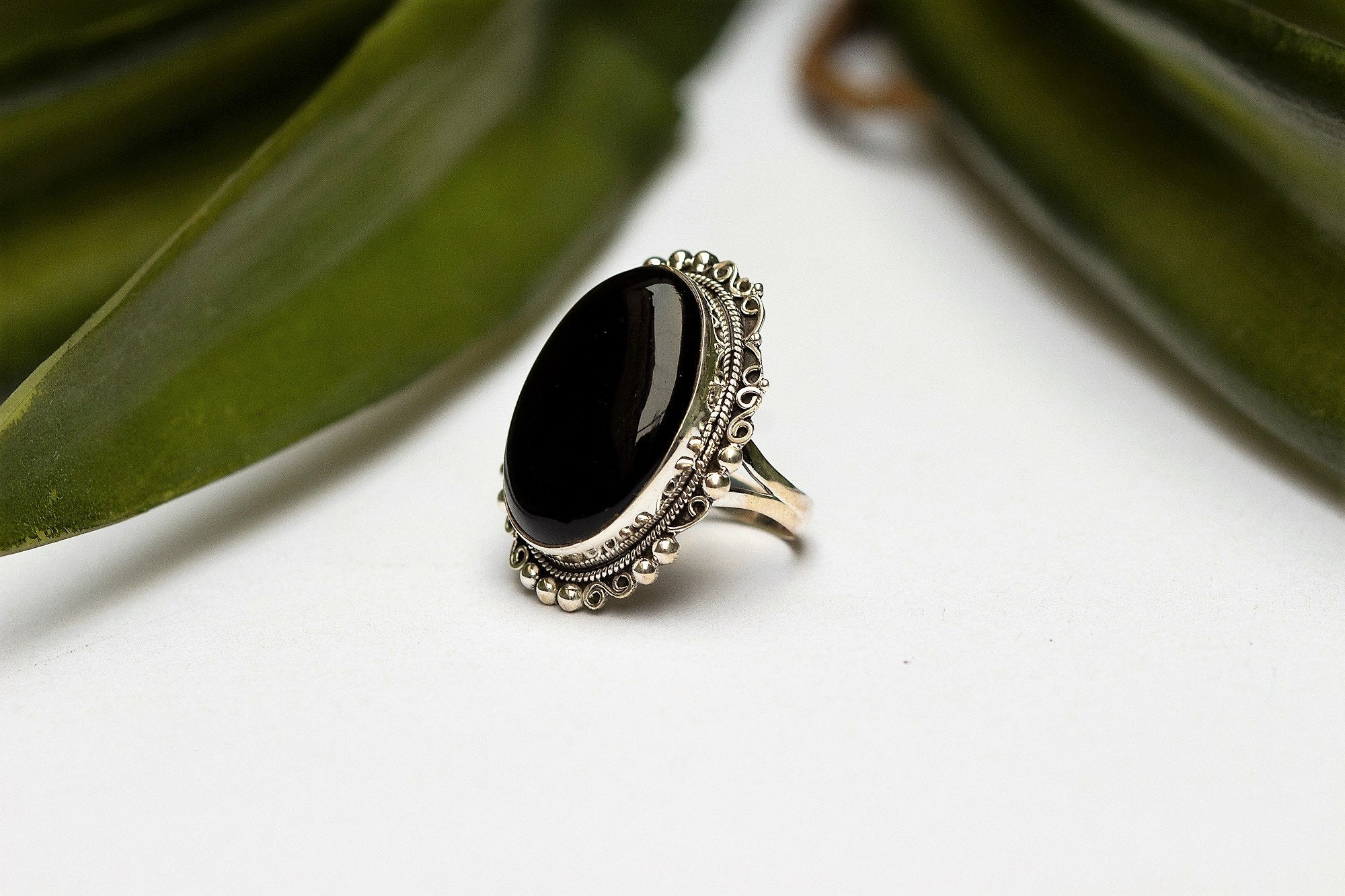 Black Onyx Ring 925 Sterling Silver AR-1012 - Its Ambra