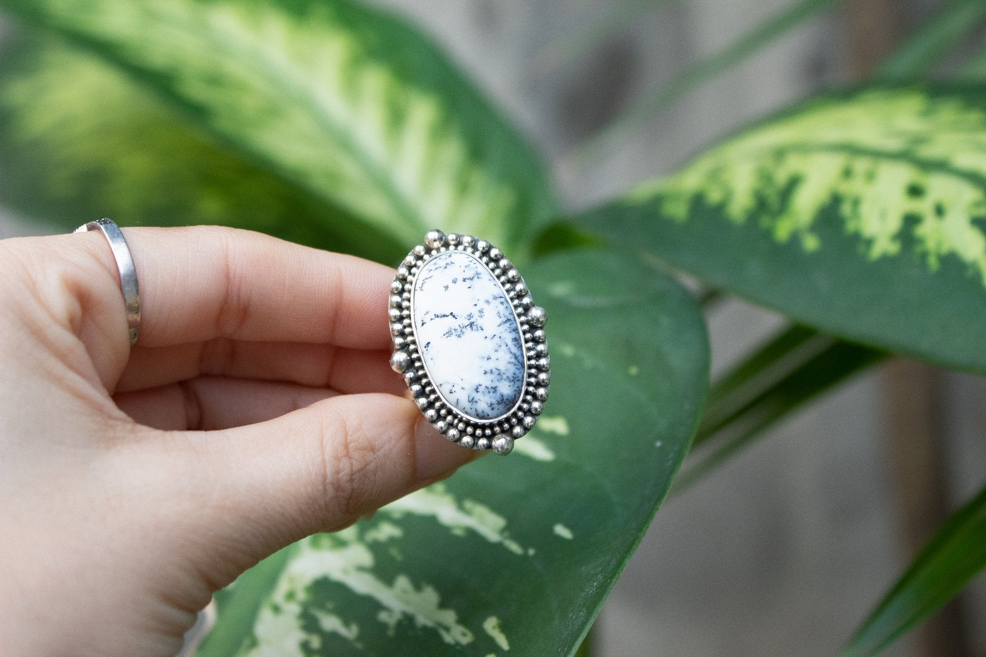 Dendritic Opal Ring with Beaded Design AR-1095 - Its Ambra