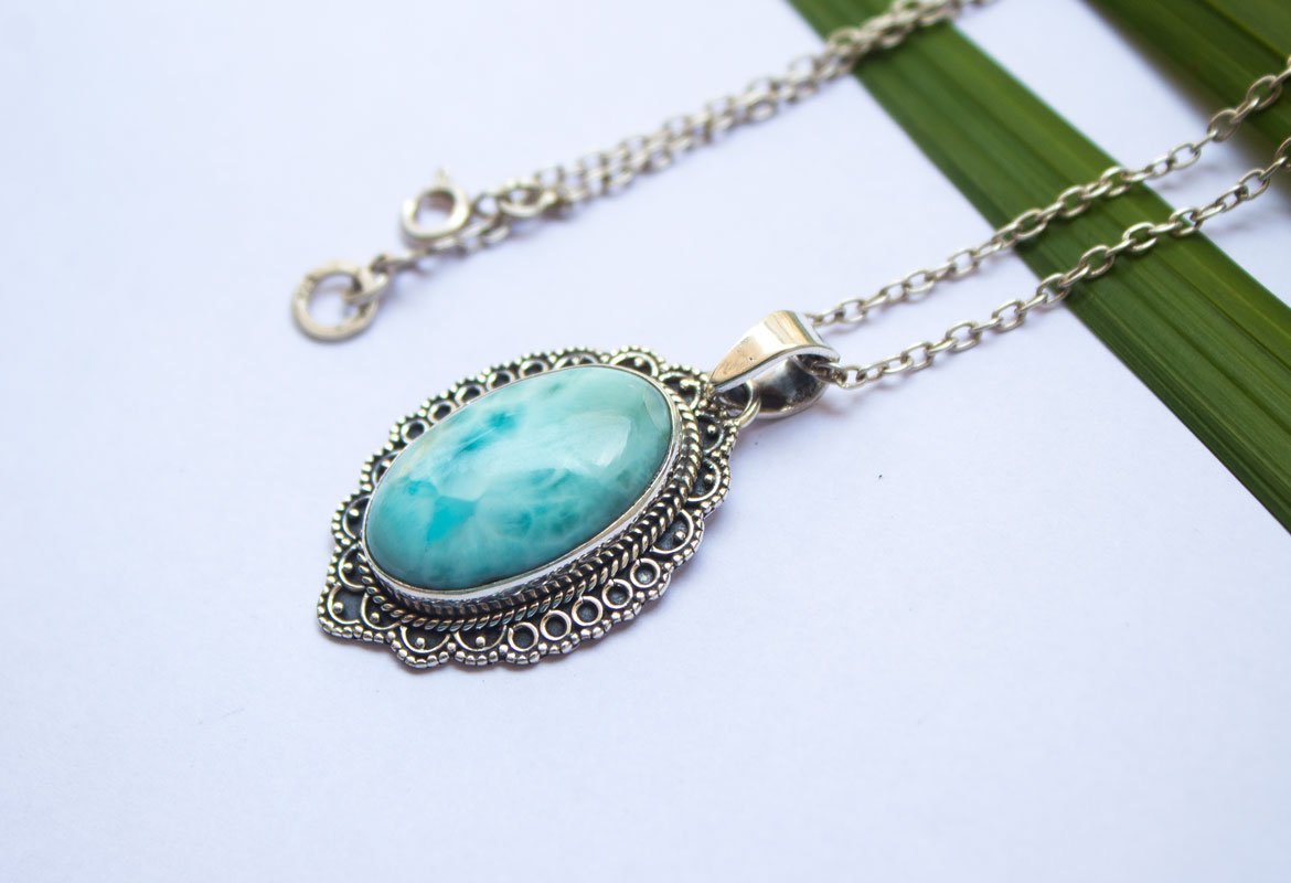 Dominican Republican Larimar Pendant Necklace AP-1177