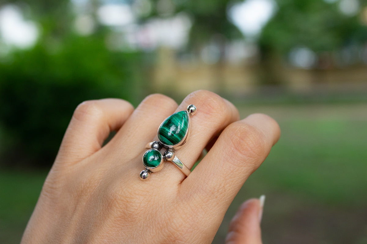 Malachite Ring, Natural Malachite Sterling Silver Ring, Dual Stone Ring AR-1224