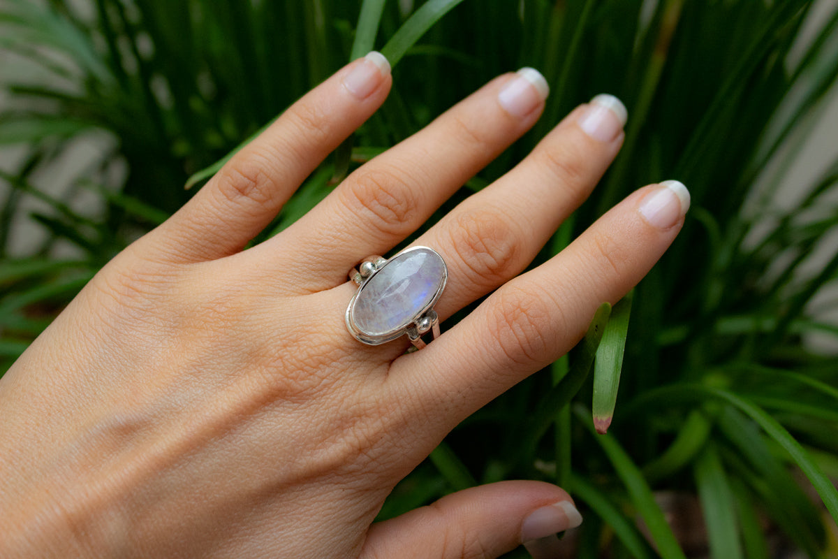 Moonstone Ring Sterling Silver, Boho Handmade Ring AR-1106