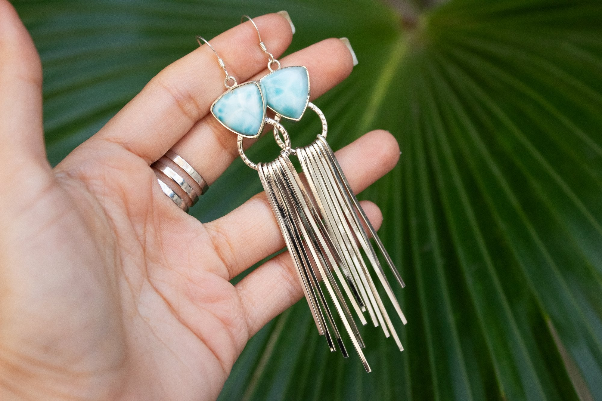 Triangle Sterling Silver Larimar Fringe Earrings AE-1048