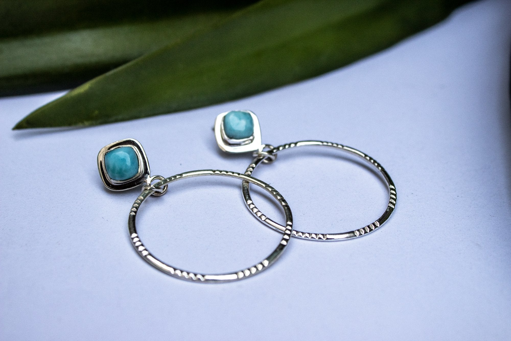 Handmade Sterling Silver Larimar Hoop Earrings AE-1040 - Its Ambra