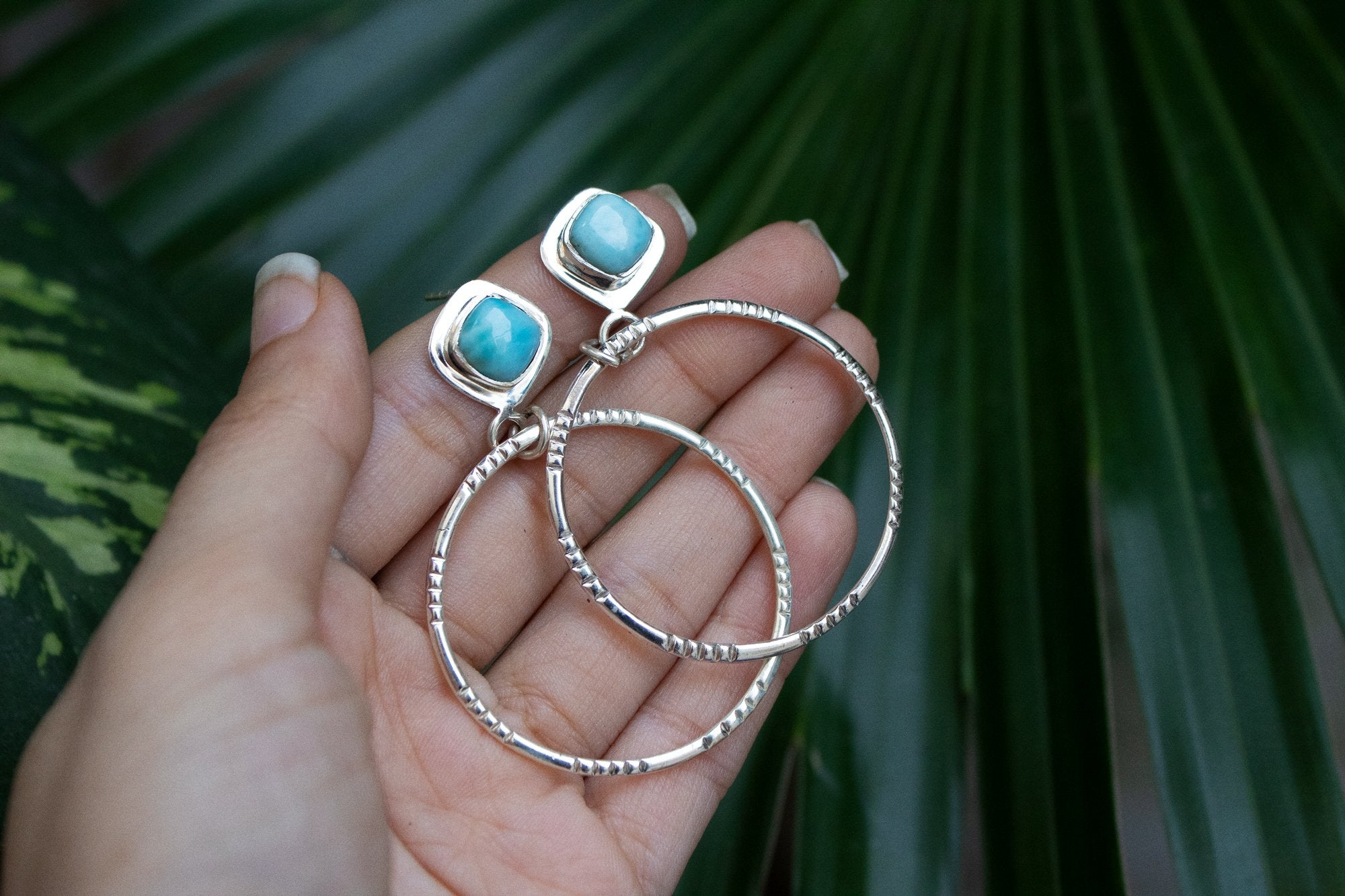 Handmade Sterling Silver Larimar Hoop Earrings AE-1040