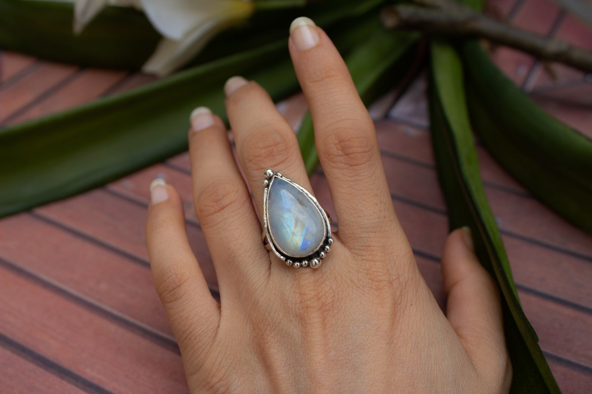 Moonstone Ring Sterling Silver, Boho Handmade Ring AR-1107