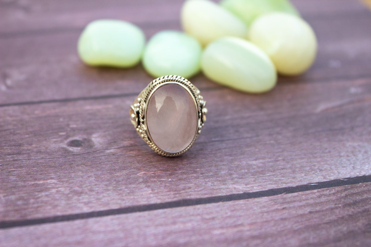 Rose Quartz Ring, Sterling Silver Rose Quartz Gemstone Ring, Handmade Ring, Pale Pink Stone Ring, Boho, Rose Quartz Jewelry