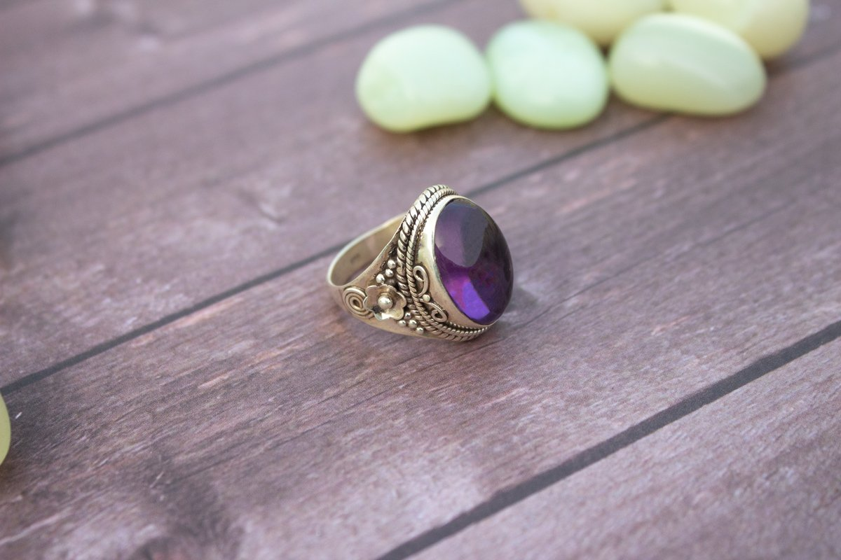 Amethyst Ring, Amethyst Gemstone Sterling Silver Ring, Wide Band Ring, Boho Ring, Cow Girl Style, February Gemstone Ring AR-1006