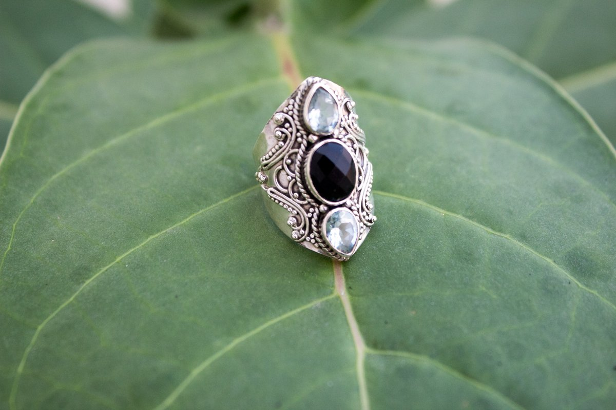 Black Onyx Ring, Sterling Silver Black Onyx and Blue Topaz Gemstone Ring, Handmade Ring, Statement Ring, AR-1020