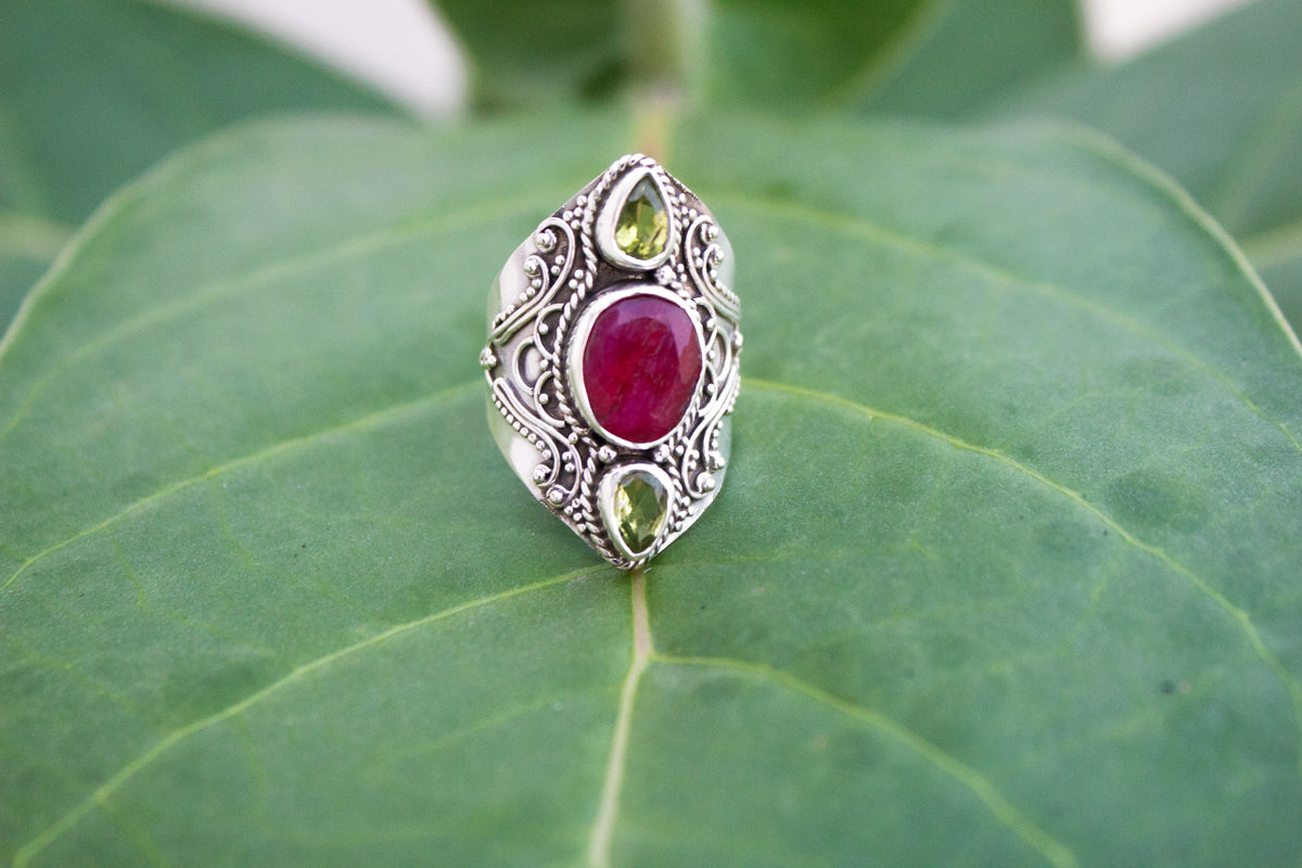 Red Ruby Ring, Ruby & Peridot Gemstone Ring, Solid 925 Sterling Silver Ring, July Birthstone Ring, Statement Ring AR-1229