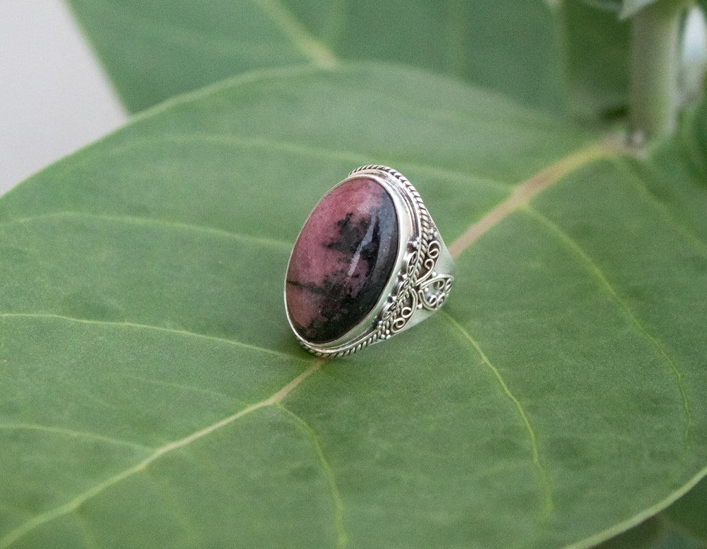 Rhodonite Ring, Rhodonite Sterling Silver Ring, Natural Rhodonite Stone Ring, Handmade Rhodonite Jewelry AR-1238