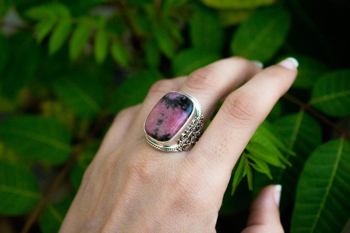 Rhodonite Sterling Silver Ring, Natural Rhodonite Stone Ring, Handmade Rhodonite Jewelry, Boho Ring