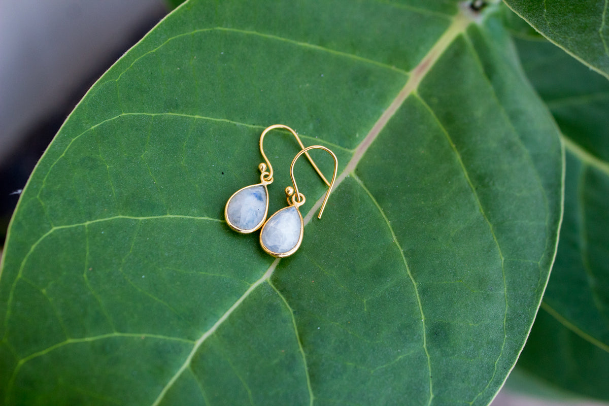 Teardrop Moonstone Earrings, Gold Plated, June Birthstone, AE-1069