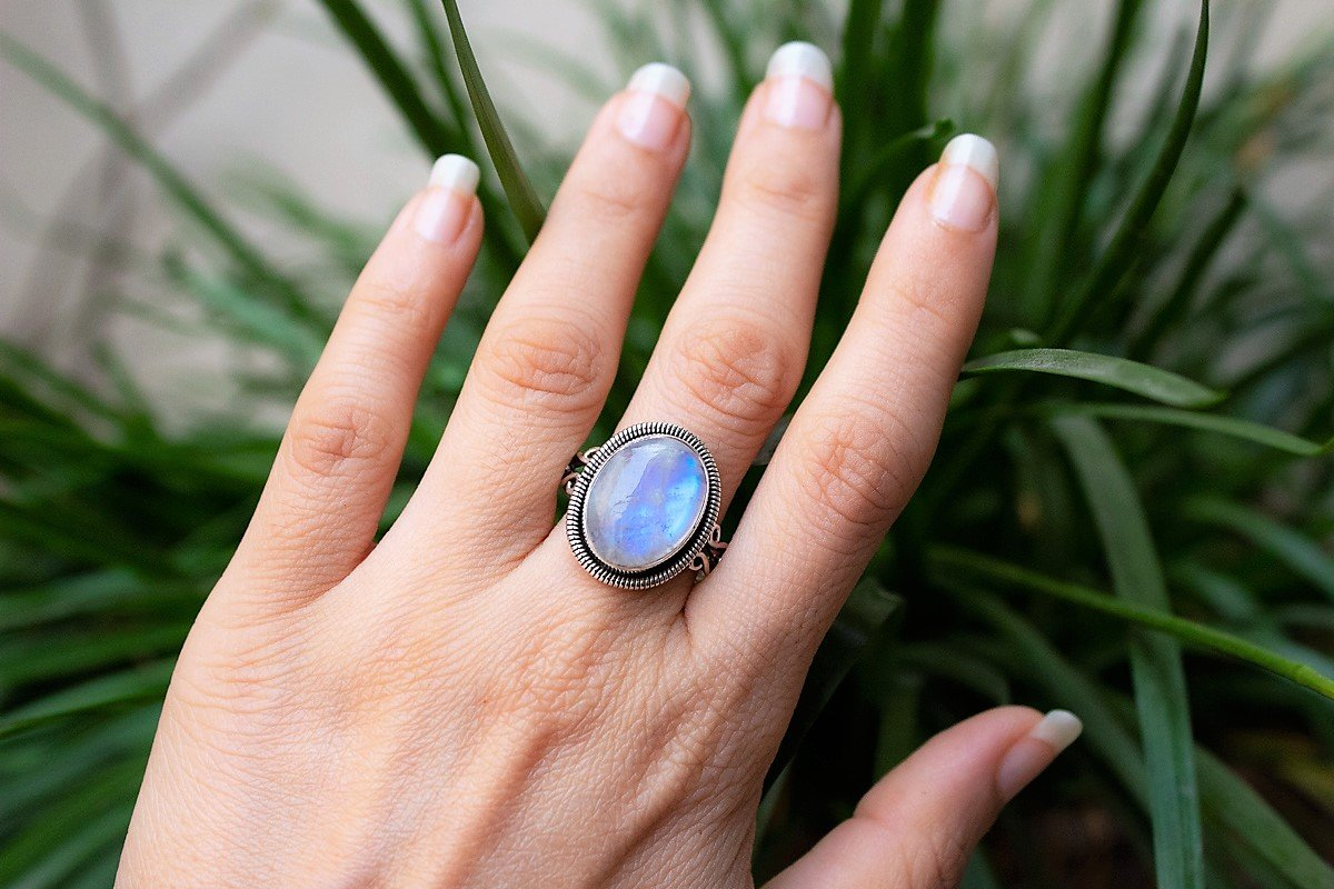 Rainbow Moonstone Ring Sterling Silver, Oval Shape Handmade Ring AR-1121