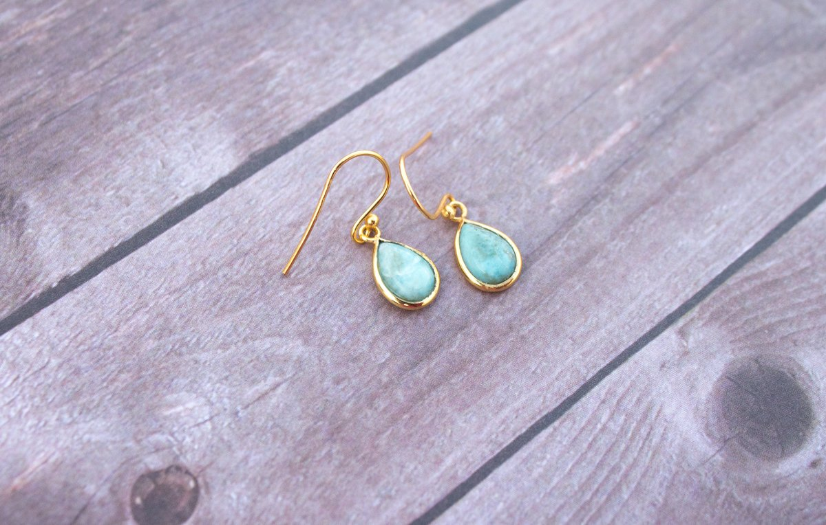 Larimar Earrings, Sterling Silver Blue Larimar Stone Gold Plated Earrings, Larimar Jewelry, Blue Stone Earrings, Handmade Larimar Dangle Earrings AE-1039