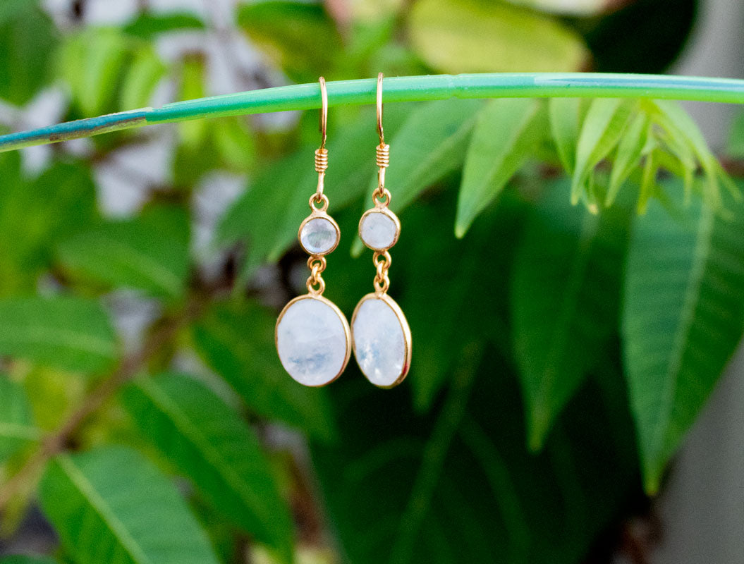 Moonstone Earrings Sterling Silver, Gold Plated Earrings, Wedding Jewelry AE-1068