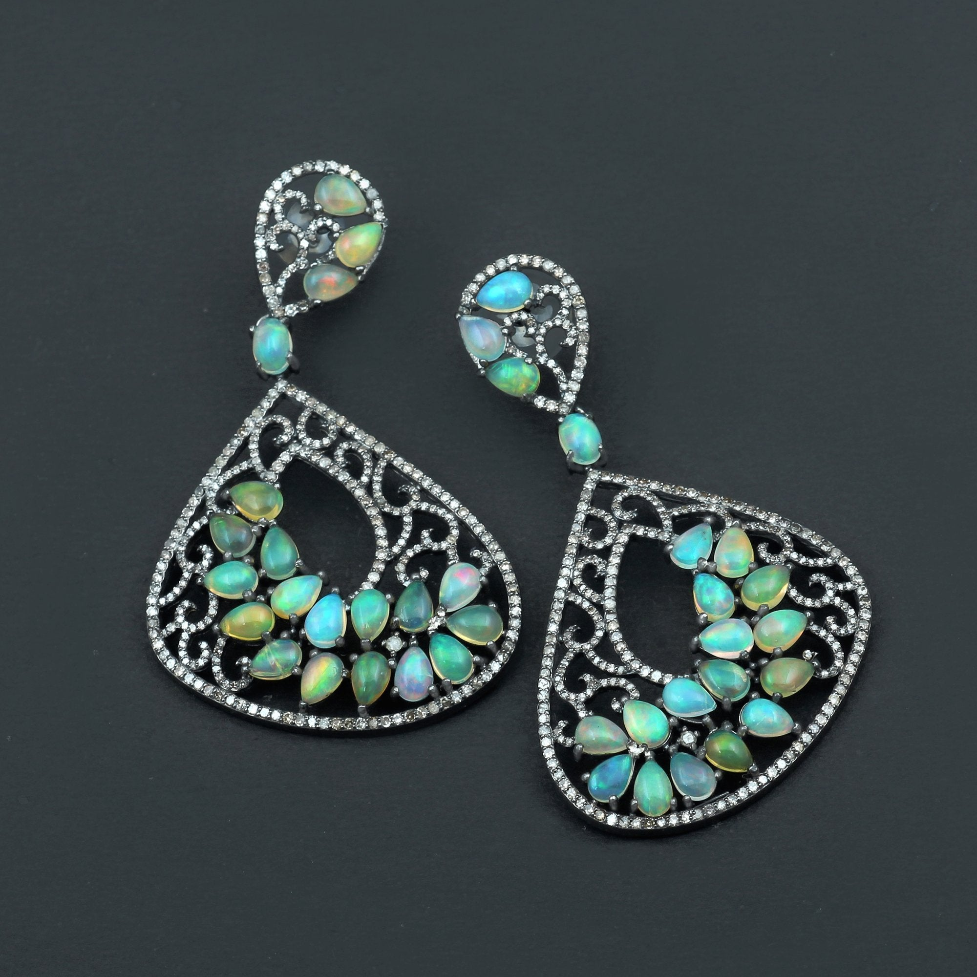 Ethopian Opal & Diamond Earrings 925 Sterling Silver AE-1230