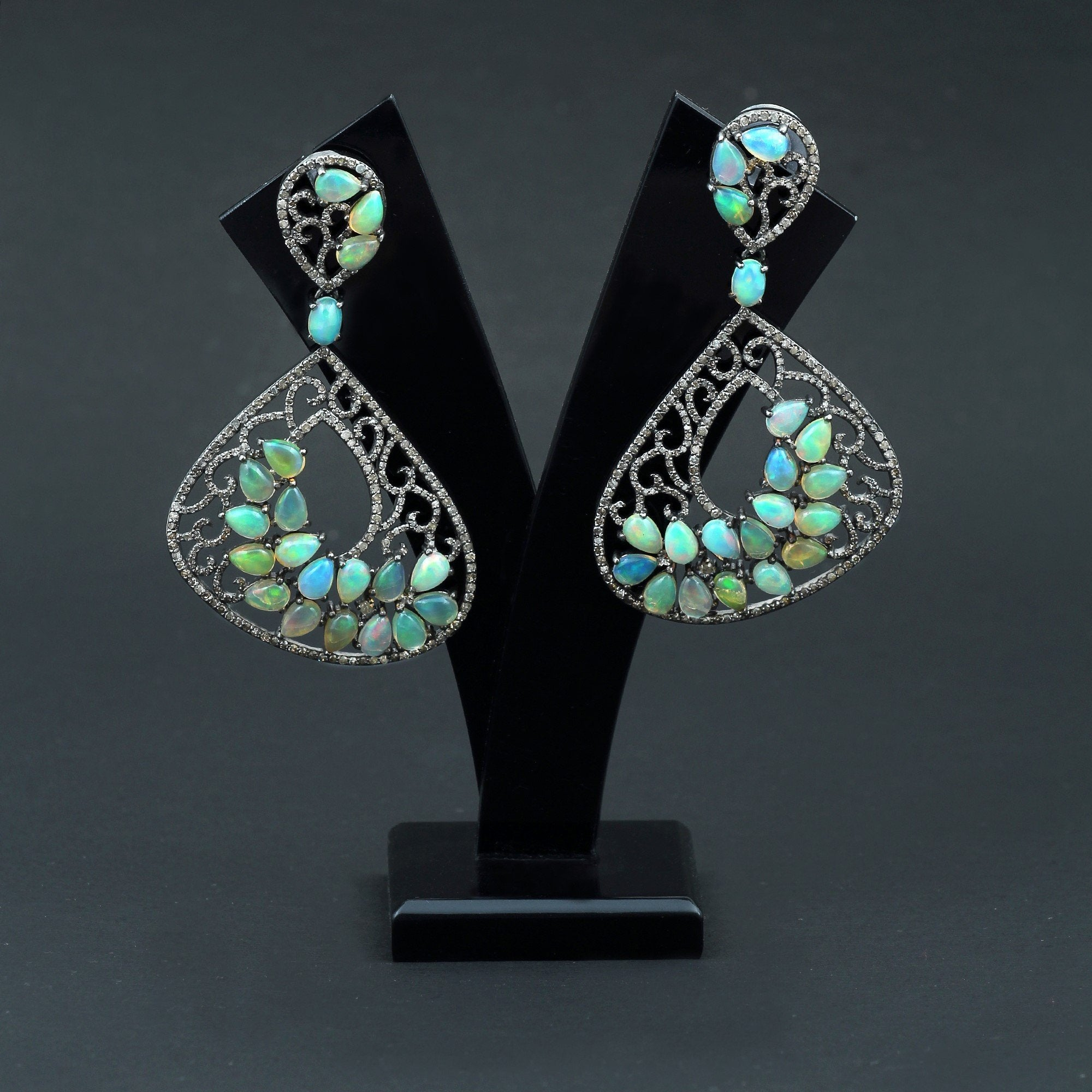 Ethopian Opal & Diamond Earrings 925 Sterling Silver