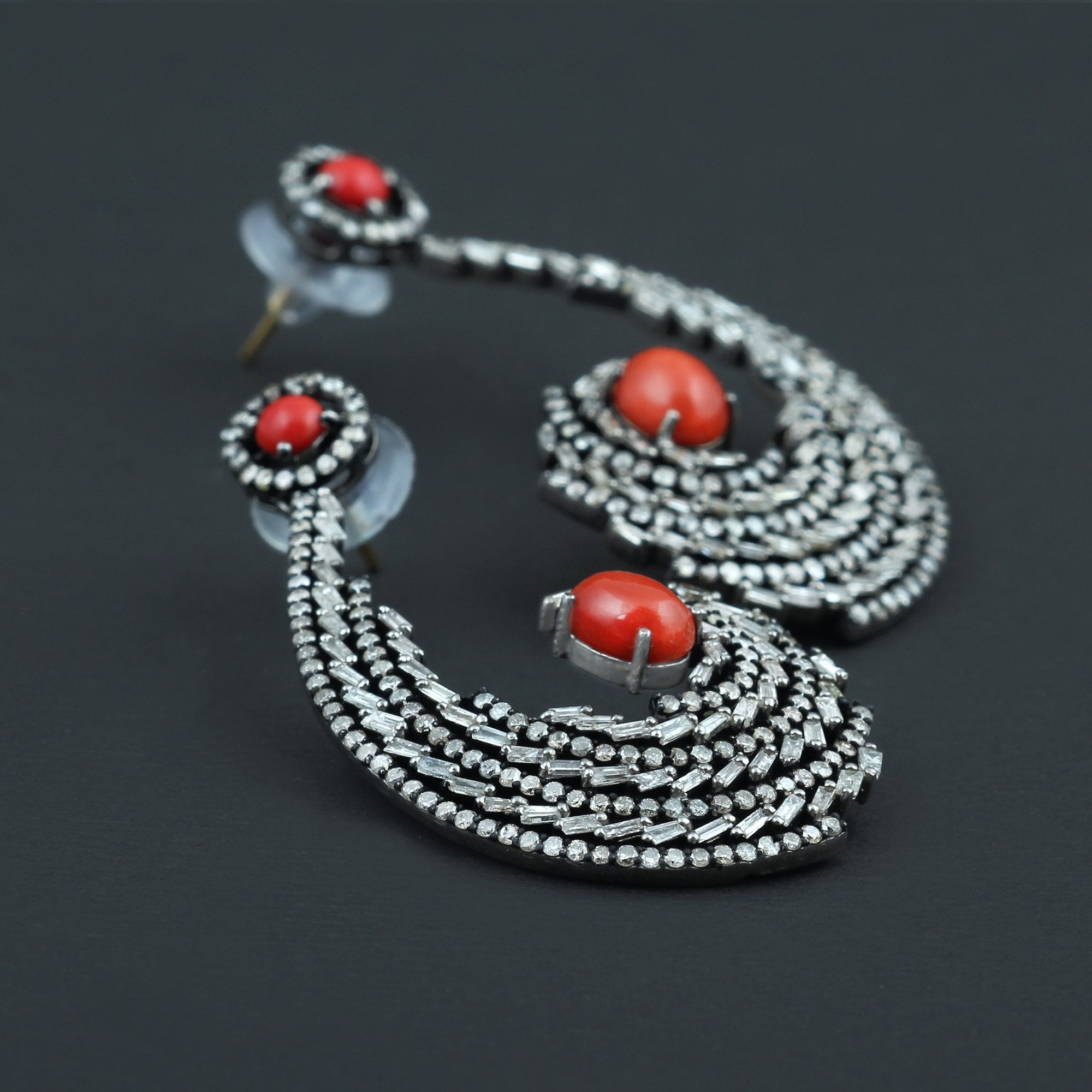 925 Sterling Silver Red Coral and Diamond Earrings AE-1223 - Its Ambra