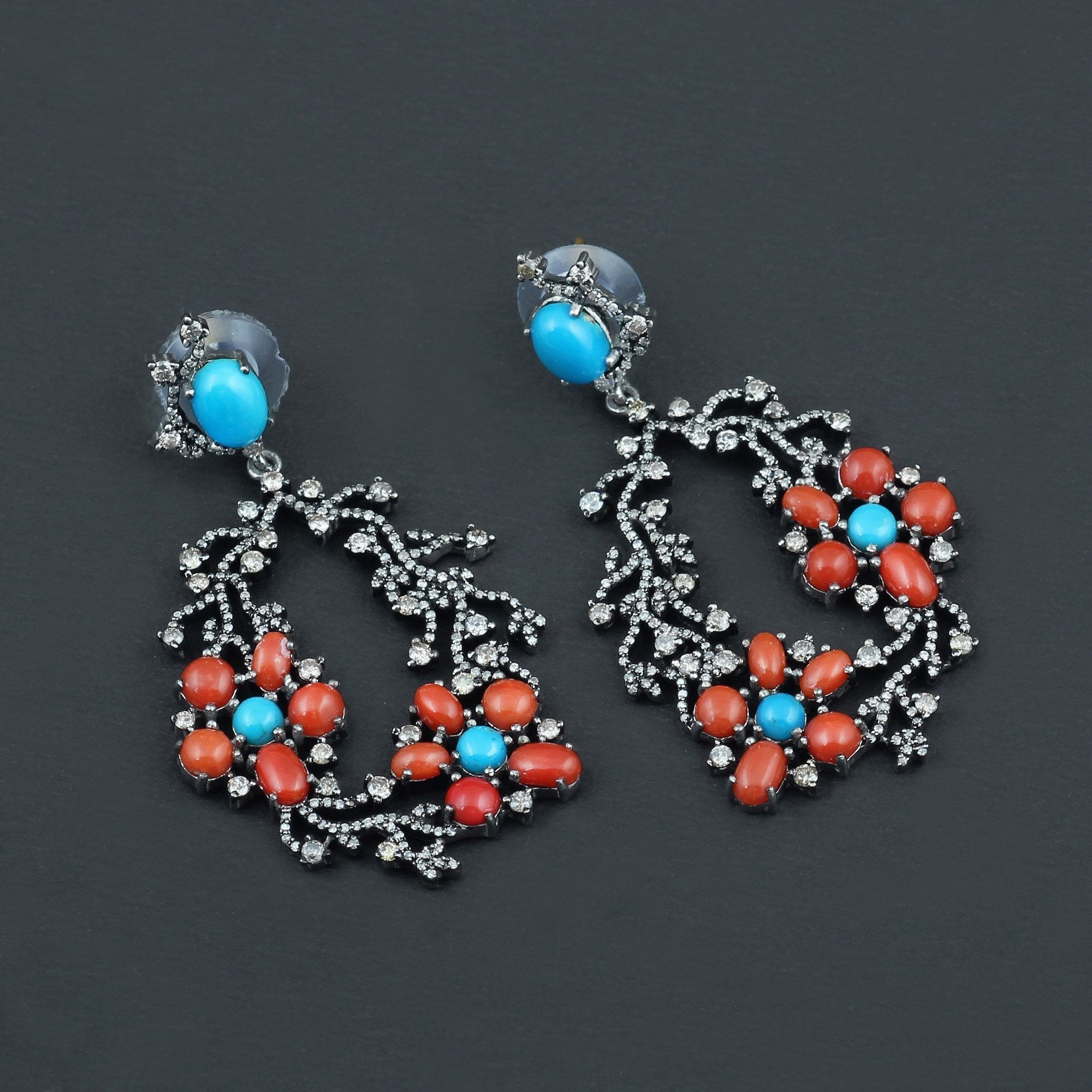 Turquoise, Coral & Diamond Sterling Silver Earrings
