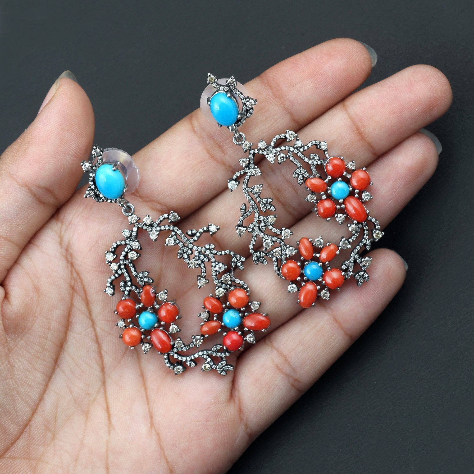 Studded Turquoise, Coral and Diamond Earrings AE-1237
