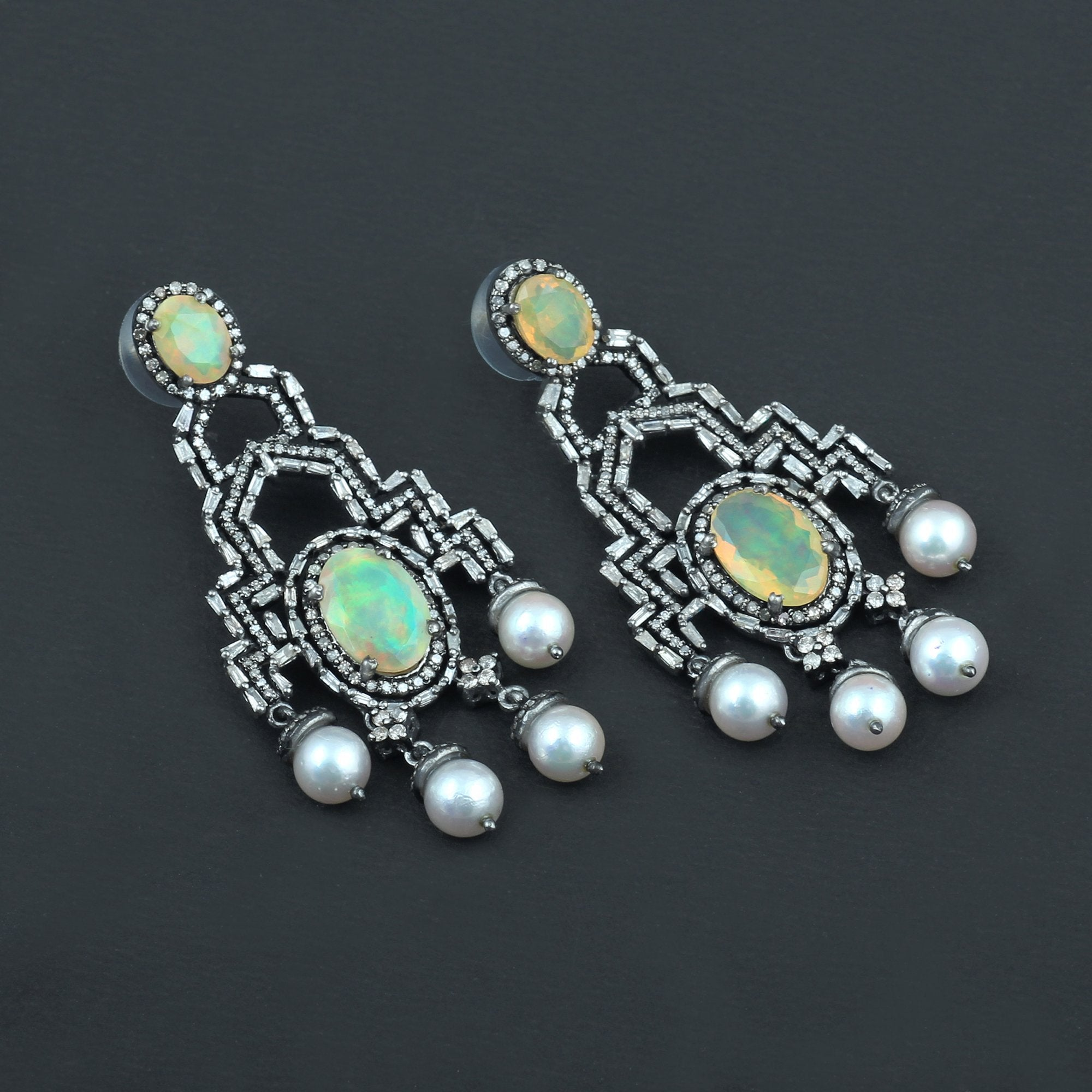 Ethiopian Opal, Fresh Water Pearl & Diamond Earrings AE-1236 - Its Ambra