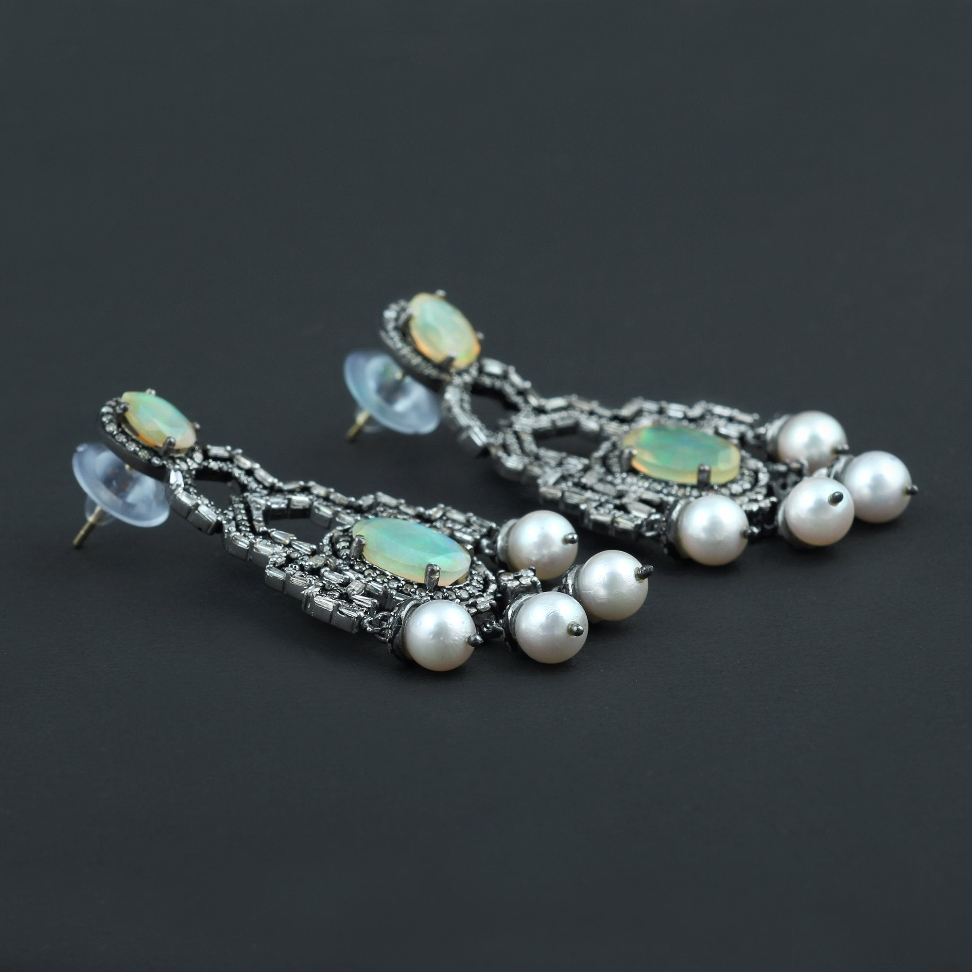 Ethopian Opal, Fresh Water Pearl & Diamond Earrings 925 Sterling Silver AE-1236