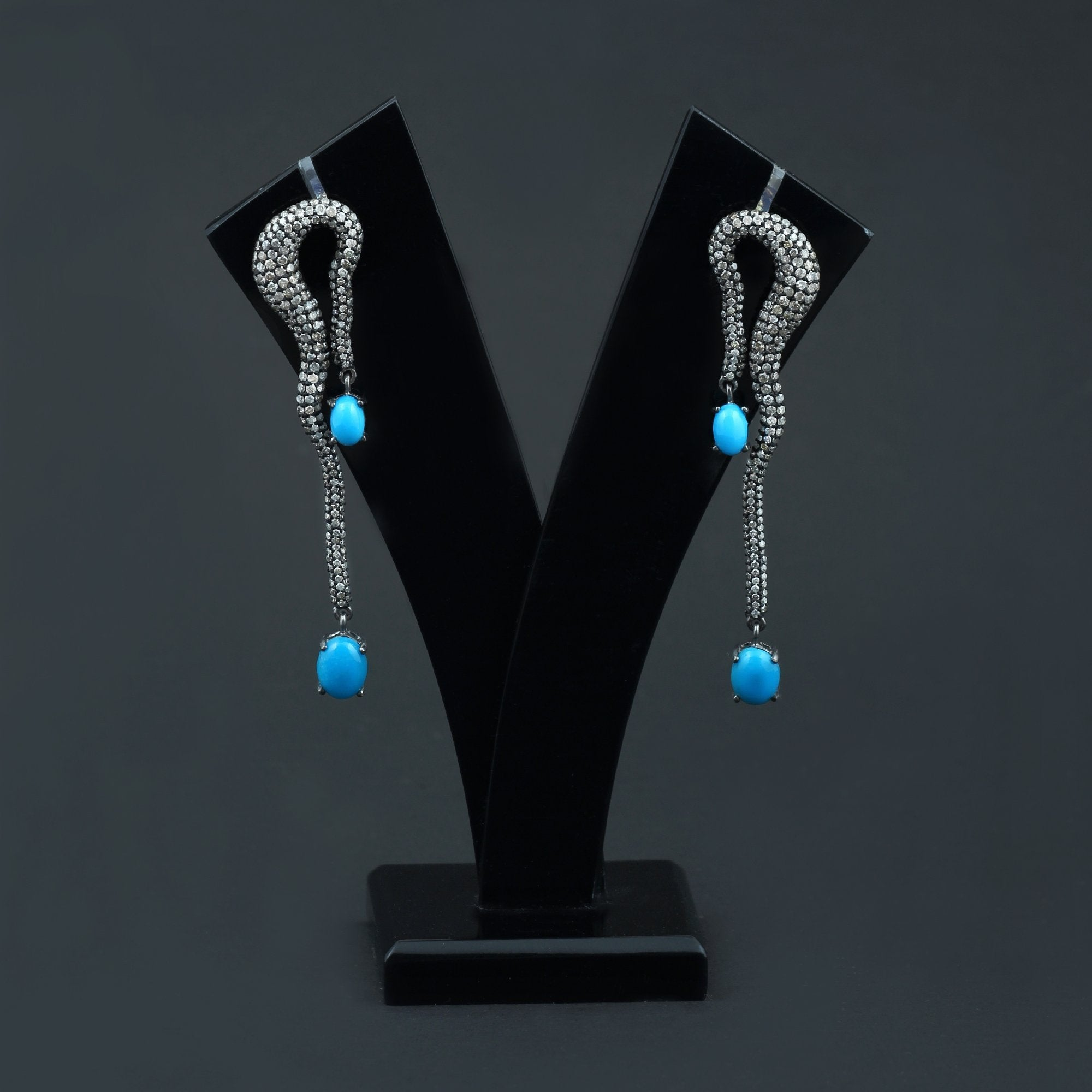 Sleeping Beauty Turquoise and Diamond Snake Earrings AE-1235