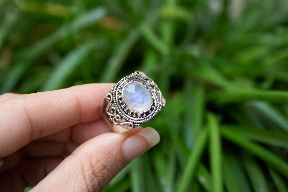Wide Band Moonstone Ring Sterling Silver, Boho Ring AR-1253 - Its Ambra