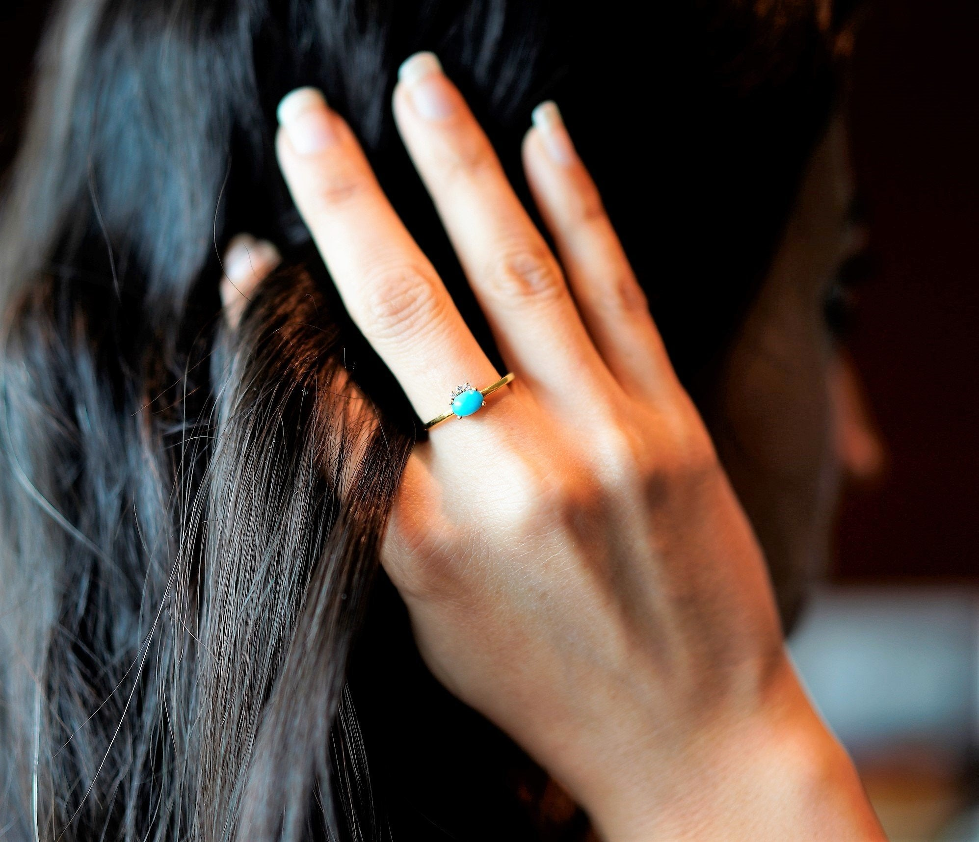 Turquoise & Diamond Ring AR-2091 - Its Ambra