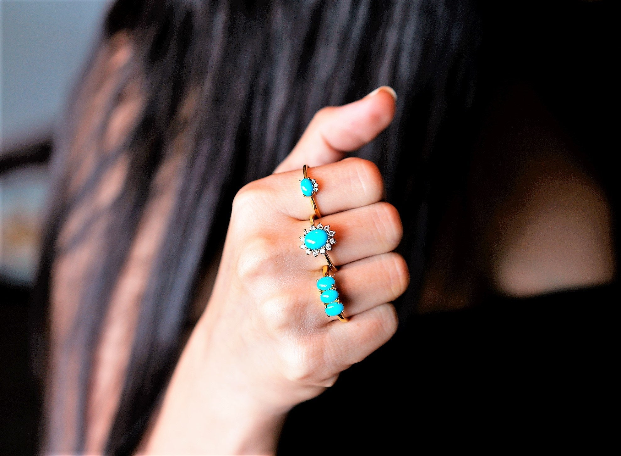 Three Stone Sleeping Beauty Turquoise Ring,  AR-3000 - Its Ambra