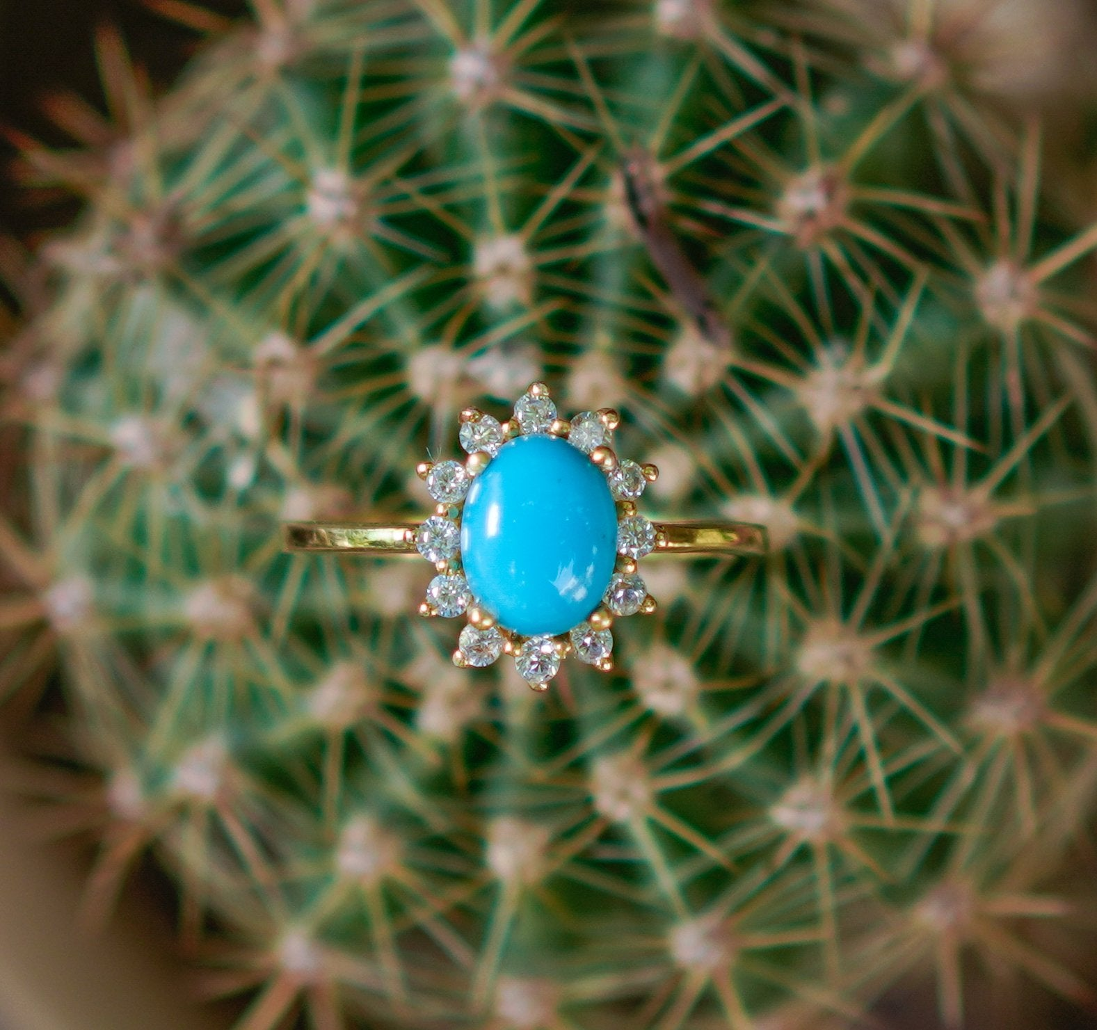 Vintage Inspired Sleeping Beauty Turquoise Halo Diamond Engagement Ring AR-2090 - Its Ambra