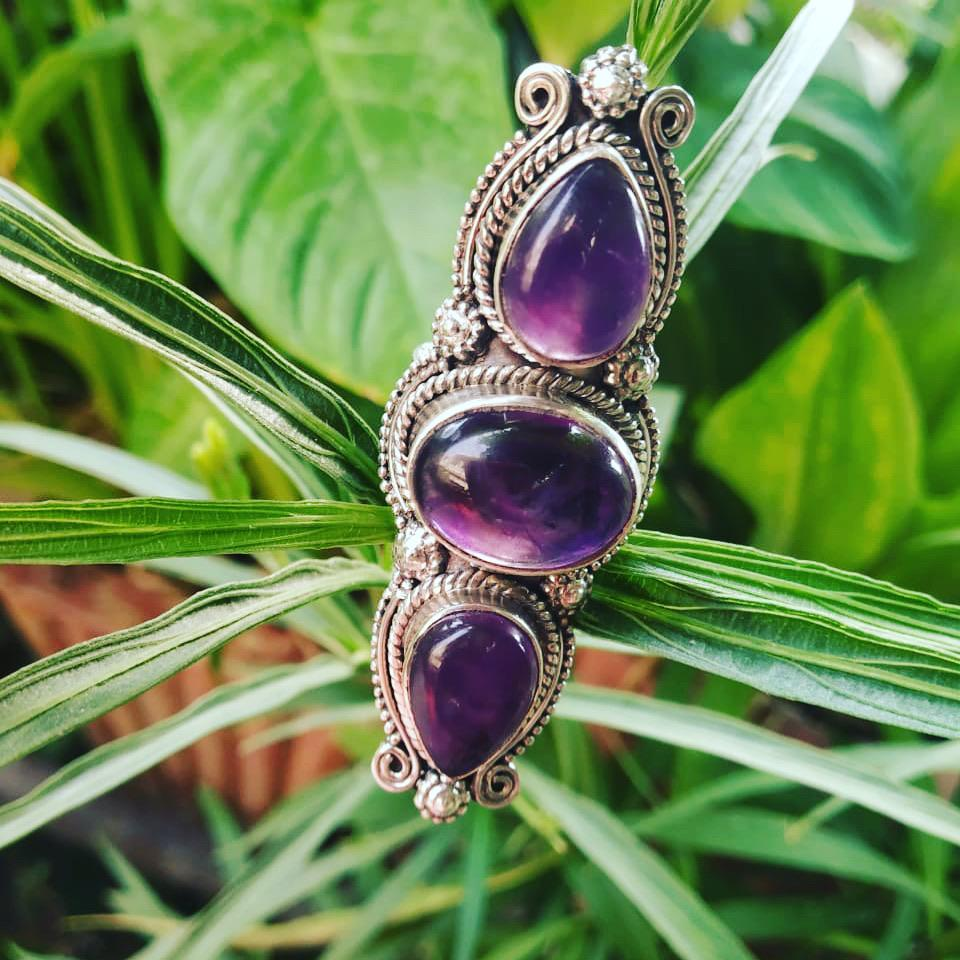 Three Stone Statement Amethyst Ring AR-1166