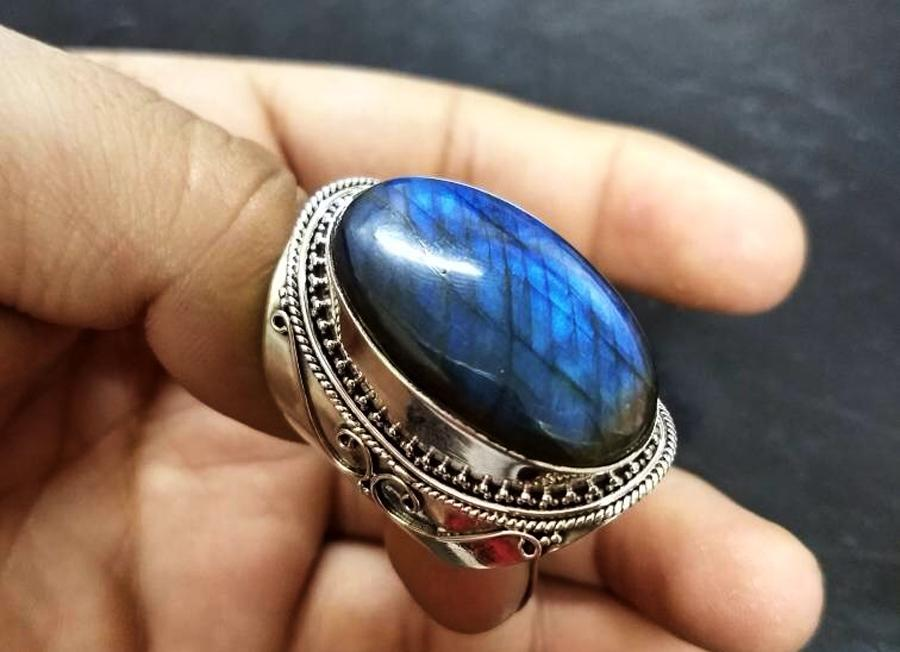 Labradorite Ring, Blue Fire Labradorite Gemstone Ring, AR-1207 - Its Ambra