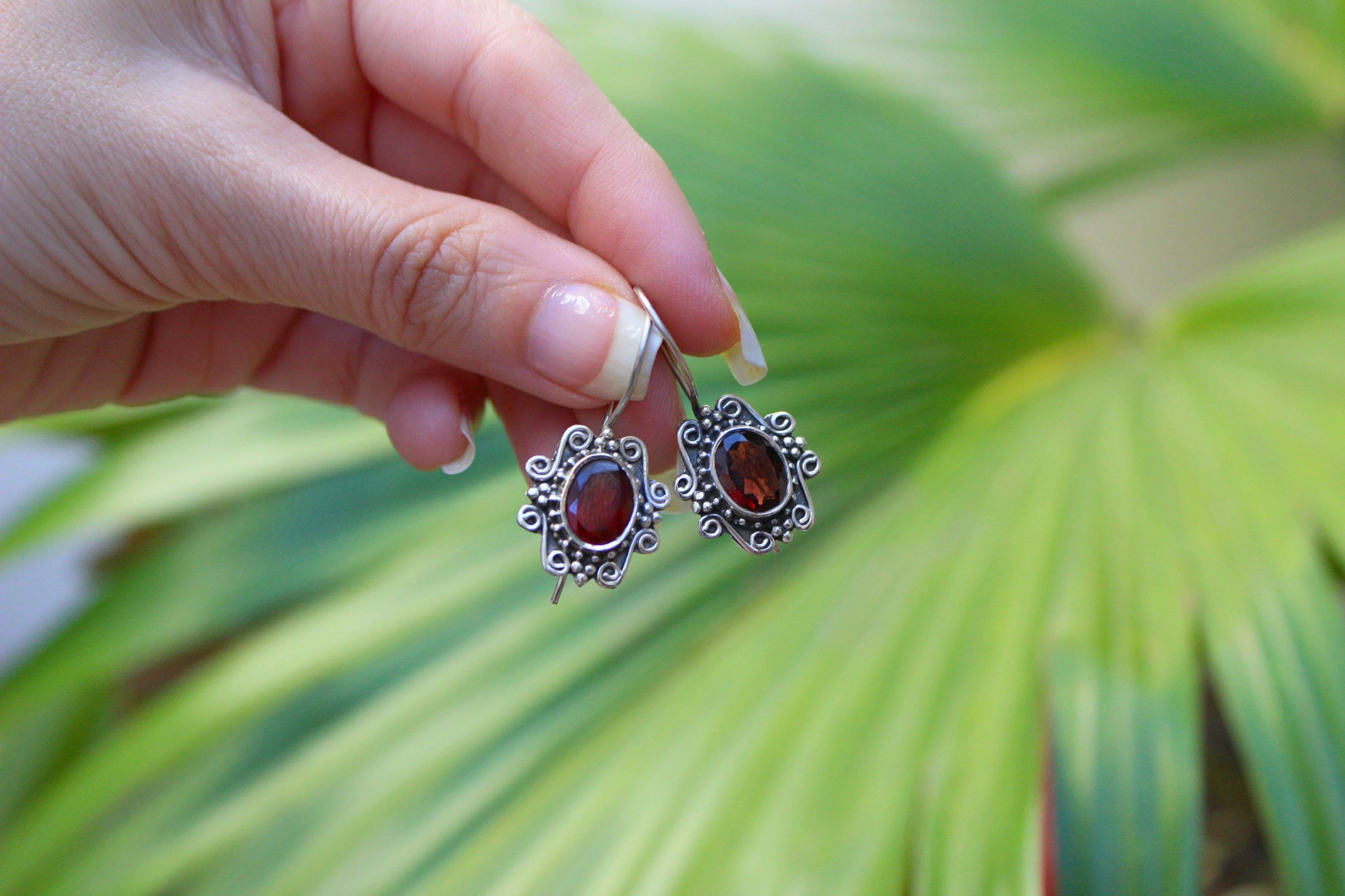 Garnet Earrings AE-2092