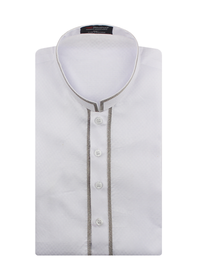 Embroidered Cotton White Spades Kurta