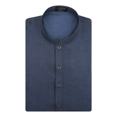 Jacquard Cotton Space Blue Kurta