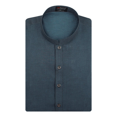Jacquard Cotton Sea Blue Kurta