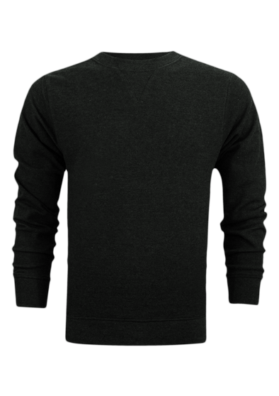 Textured Weave V-Notch Charcoal Long Sleeves Sweat Shirt
