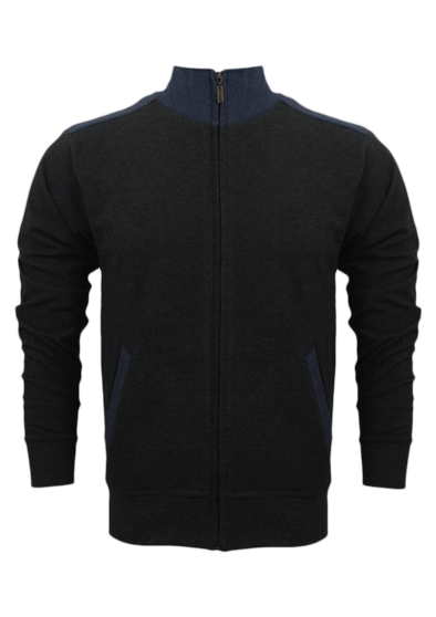 Textured Weave Mock Neck Charcoal Zipper Jacket