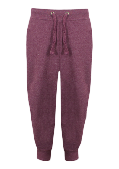 Textured Weave Cropped Bottom Burgundy Sweat Pants