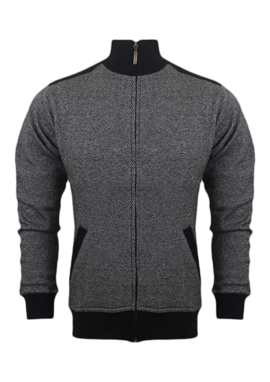 Cross Fleece Mock Neck Grey Melange Zipper Jacket