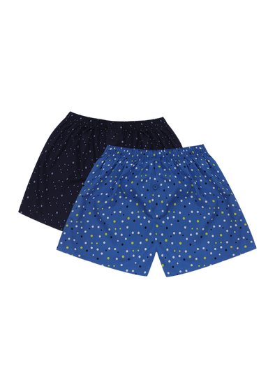 Comfortable Royal Stars + Polka Dots Woven Boxer Shorts Pair Pack