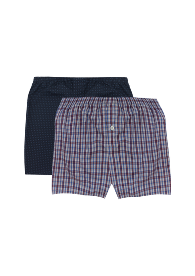 Comfortable Red Checks + White Dots Woven Boxer Shorts Pair Pack